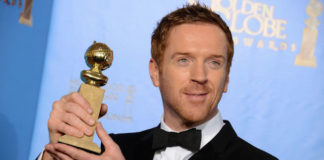 "Damian Lewis poses with the Golden Globe 2013 Award for ""Best Performance by an Actor in a Television Series."""