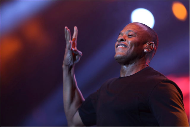 Dr. Dre showing the well known West Coast sign.