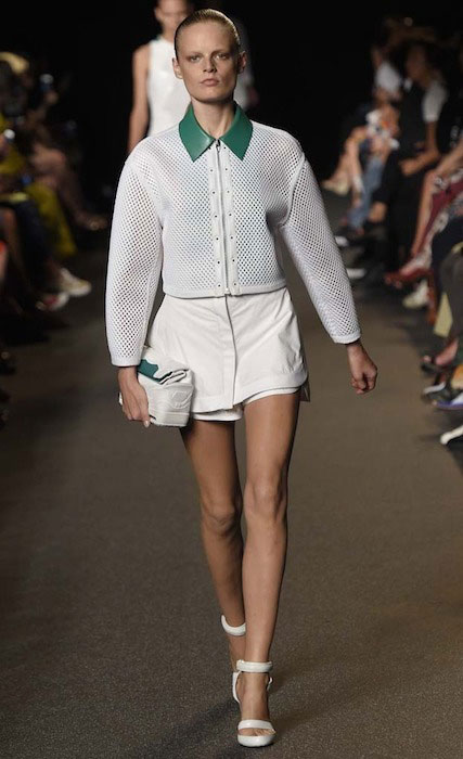 Hanne Gaby Odiele at New York Fashion Week showing Alexander Wang Spring 2015 Collection.