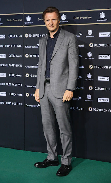 Liam Neeson attends the October 3, 2014 premiere of 'A Walk Amongst the Tombstones' during the Zurich Film Festival in Switzerland.