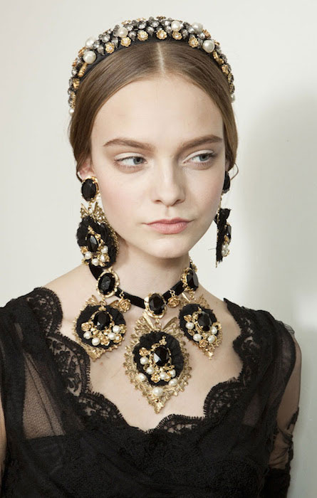 Nimue Smit backstage at Dolce and Gabanna Fall 2012 Fashion Show.