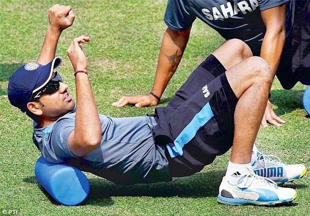 Rohit Sharma stretching his body.