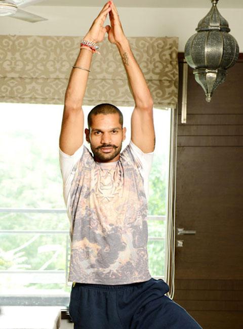 Shikhar Dhawan making Surya Namaskar (Yoga) Pose.