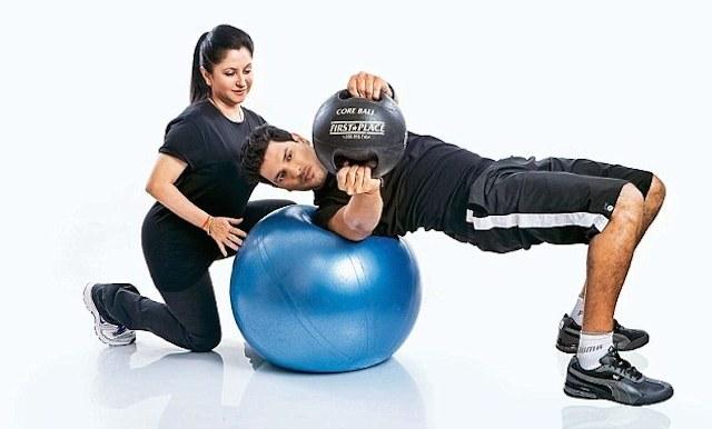 Yuvraj Singh with trainer Zarine Watson.