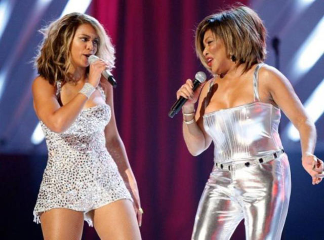 Beyonce Knowles and Tina Turner