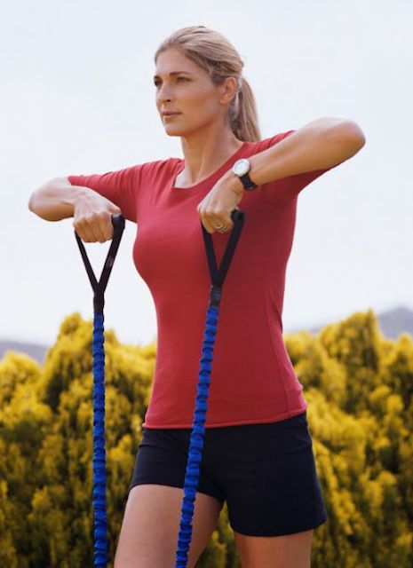 Gabrielle Reece workout with bands.