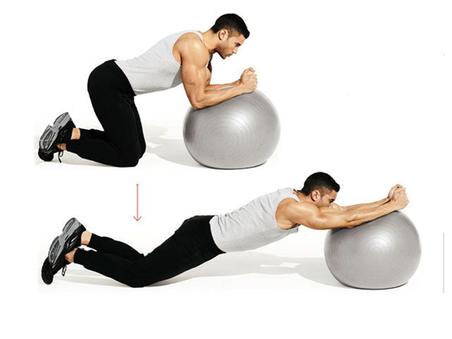 Stability Ball Plank Rollout