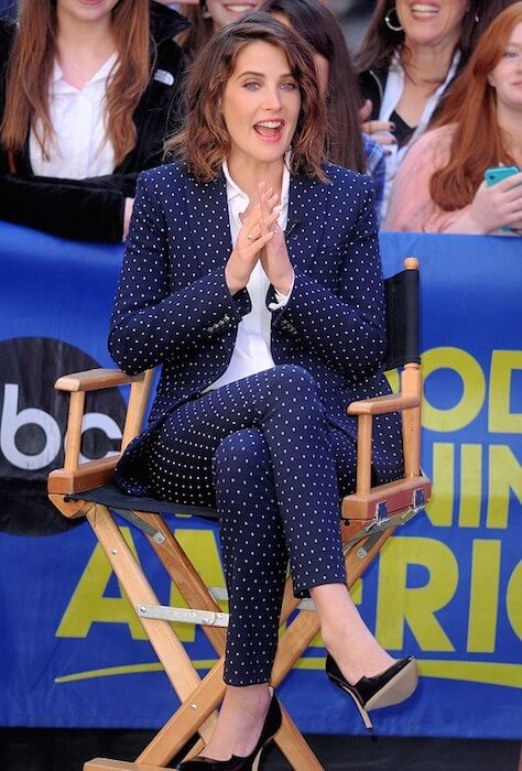Cobie Smulders looks super chic in the polka dot jacket and trousers for a Good Morning America appearance in New York.