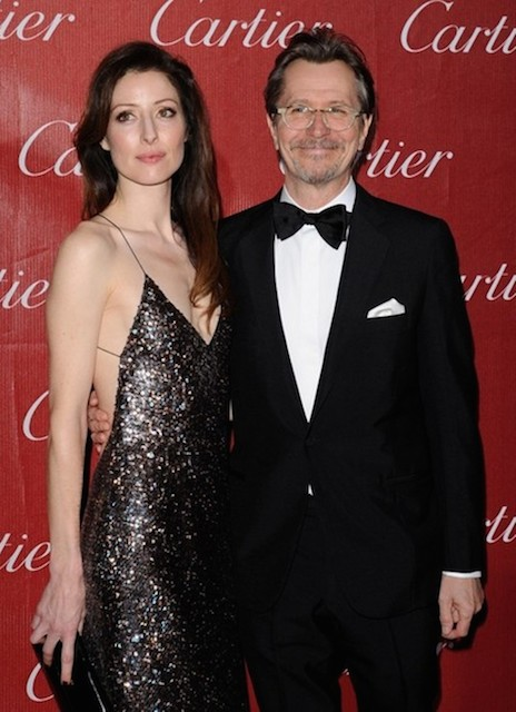 Gary Oldman and Alexandra Edenborough arrives at the 2014 Palm Springs International Film Festival at the Palm Springs Convention Center in Palm Springs California on January 4, 2014