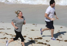Hilary Duff training on the beach with her husband Mike Comrie