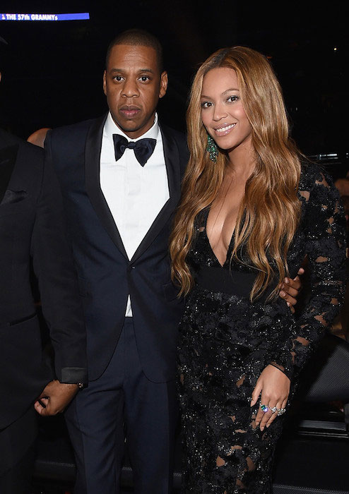 Jay Z and Beyonce attend The 57th Annual GRAMMY Awards at the STAPLES Center on February 8, 2015 in Los Angeles, California