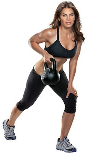 Jillian Michaels doing kettlebell workout