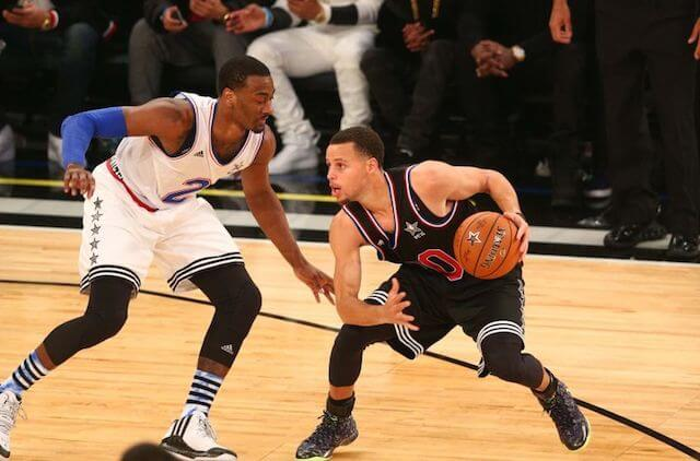 John Wall (Left) and Stephen Curry (Right) during NBA All Star Game