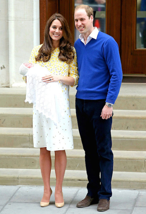 Kate Middleton and Prince William with their newly born daughter Charlotte Elizabeth Diana