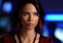 "Lexa Doig in a still from ""Andromeda"""