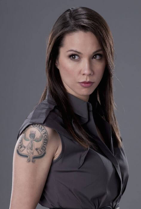 "Lexa Doig in a still from ""Continuum"" where she played a cop"