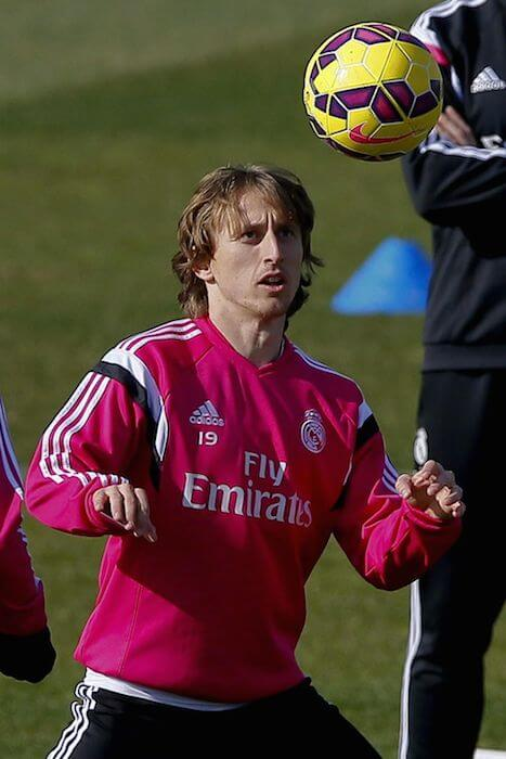 Luka Modric in action during a training session at Valdebebas training ground on February 20, 2015 in Madrid, Spain