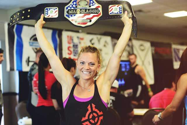 Morgan King with champion belt