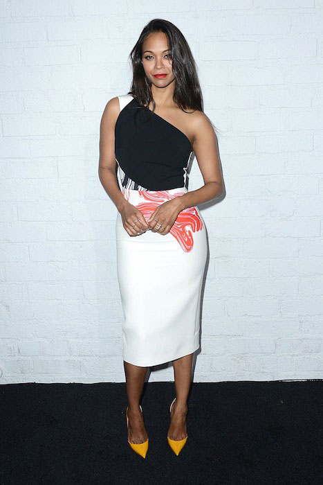 Zoe Saldana looking fab as of April 2, 2015 after achieving weight loss goals