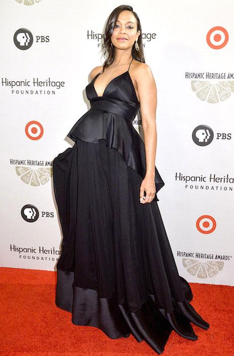 Zoe Saldana, when she was pregnant