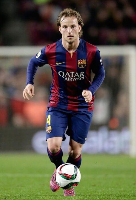 Barcelona star Ivan Rakitic playing the shot during a match