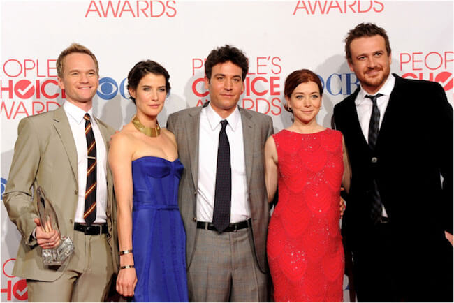 "Cobie Smulders with the cast of ""How I Met Your Mother"""