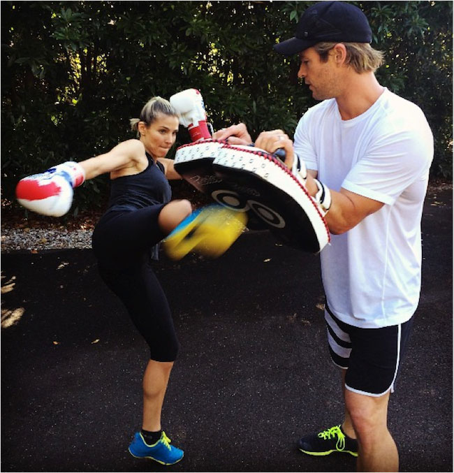 Elsa Pataky and Chris Hemsworth exercising