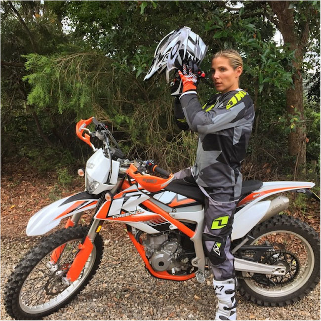 Elsa Pataky on an offroad bike