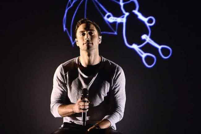 "Måns Zelmerlow performing his 2015 Eurovision winning song ""Heroes"""