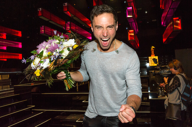 Mans Zelmerlow showing his ecstasy during Eurovision 2015