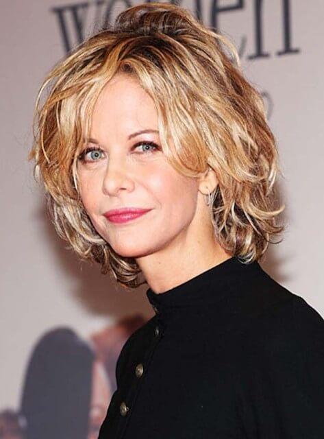 Meg Ryan with her cropped hair style at an event in 2015