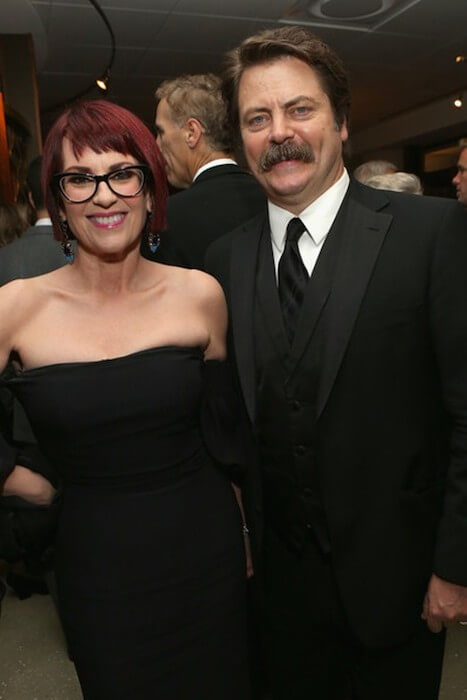 Megan Mullally and husband Nick Offerman at HBO's Post 2014 Golden Globe Awards Party in Los Angeles, California