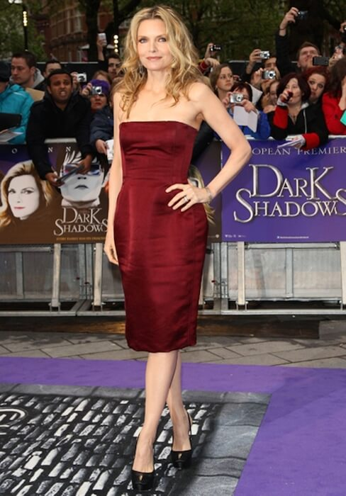 Michelle Pfeiffer in a Lanvin made red dress during the Premiere of 'Dark Shadows' in 2012