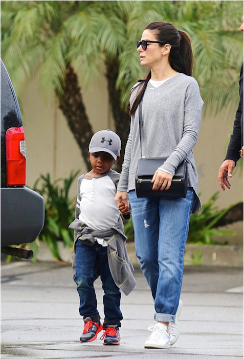 Sandra Bullock with her son Louis Bardo Bullock