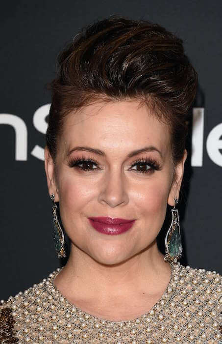 Alyssa Milano in 2015 InStyle and Warner Bros Golden Globes Party