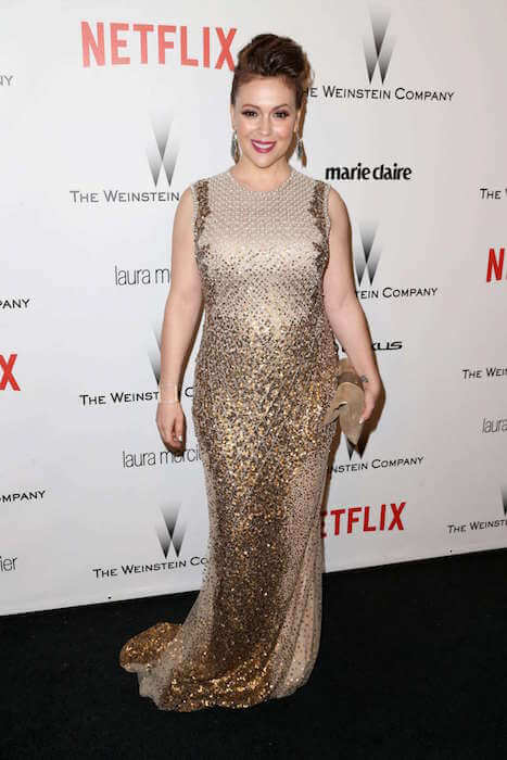 Alyssa Milano in the 2015's The Weinstein Company and Netflix Golden Globes Party