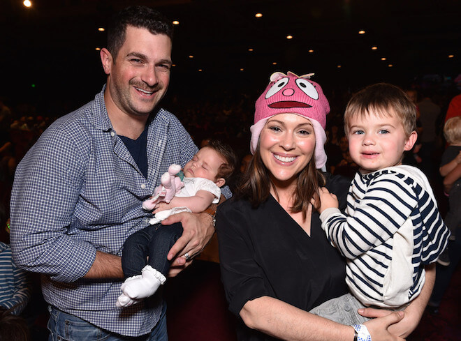 Alyssa Milano with husband David, son Milo and daughter Elizabella.