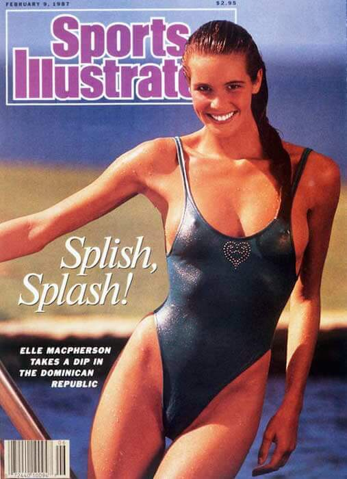 "Elle Macpherson nicknamed ""The Body"" on the cover of Sports Illustrated Swimsuit Issue"