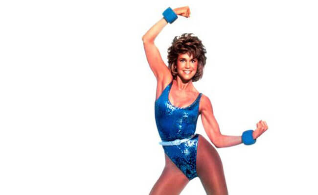 A still from Jane Fonda's Workout DVD, which she released many years back.