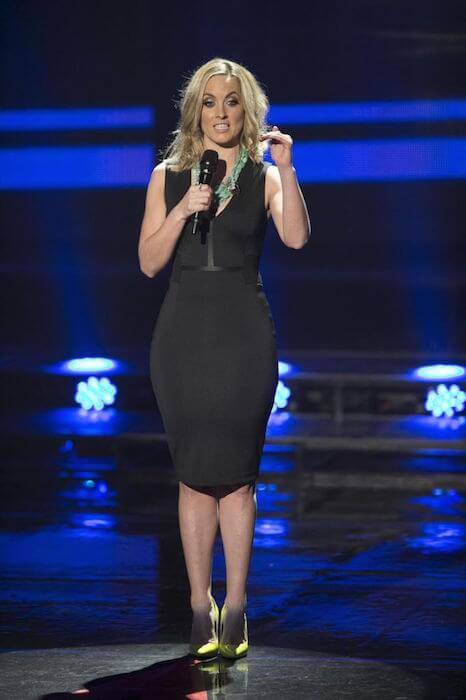 "Kathryn Thomas hosting ""The Voice of Ireland"" in a figure hugging dress"