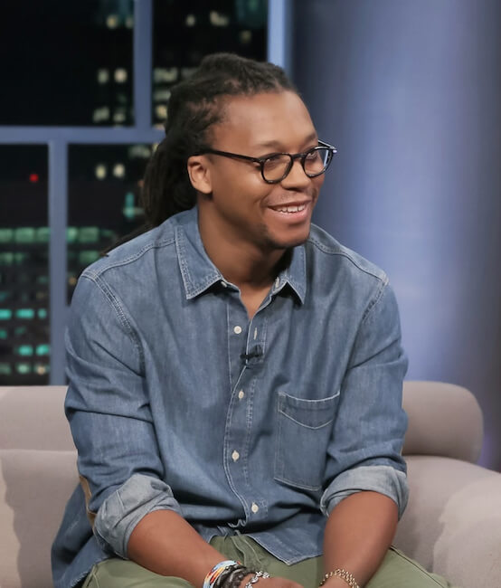 Lupe Fiasco giving an interview at Tavis Smiley in February 2015 promoting Tetsuo & Youth