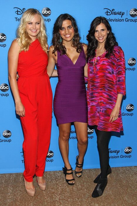 Natalie Morales at the Beverly Hilton Hotel on August 4, 2013 in Beverly Hills, California with Malin Akerman and Michaela Watkins