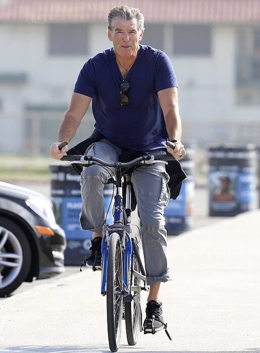 Pierce Brosnan cycling