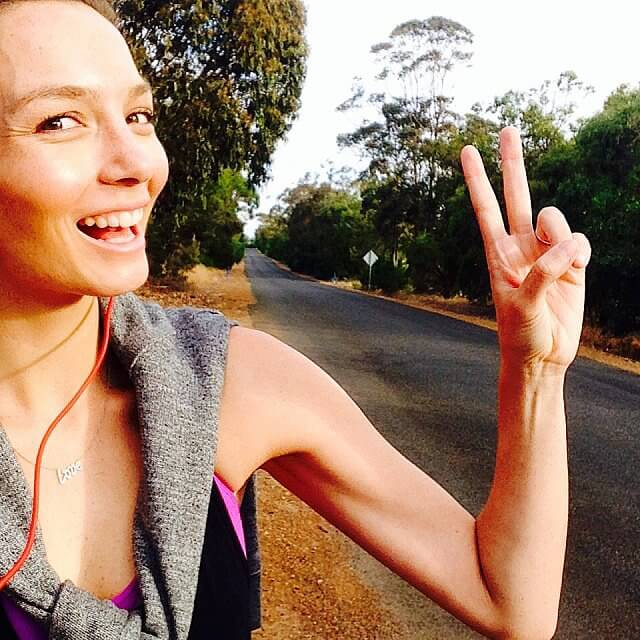 Ricki-Lee Coulter smiles after her run before going for a dinner