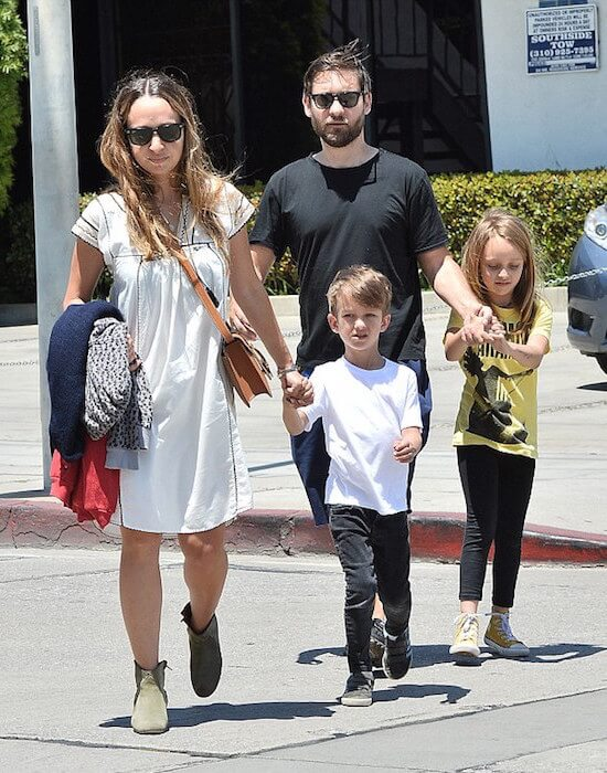 Tobey Maguire with wife Jennifer Meyer and kids Otis (front) and Ruby (back)