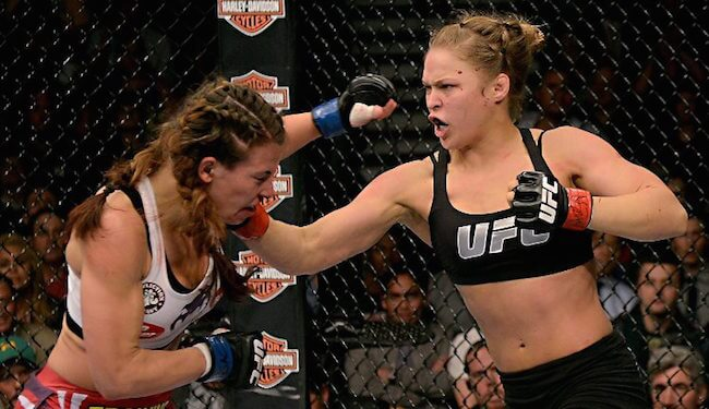 Ronda Rousey in the final match with Miesha Tate on March 3, 2012 which triggered controversies after she refused to shake hands with Tate