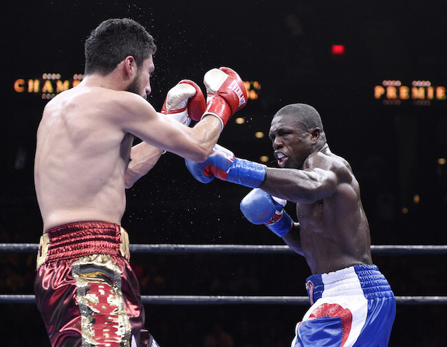 Andre Berto during a boxing match against Josesito Lopez on March 13, 2015 in Ontario, California