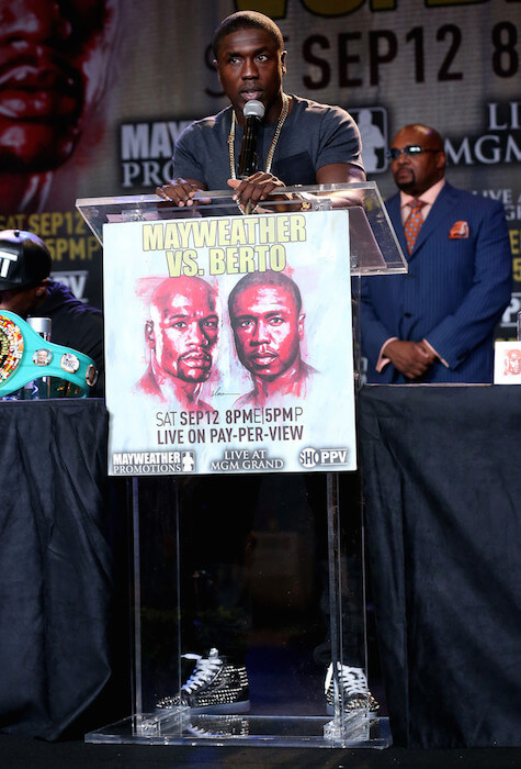 Andre Berto speaking during a press conference about his September 2015 fight against Floyd Mayweather on August 6, 2015 in Los Angeles