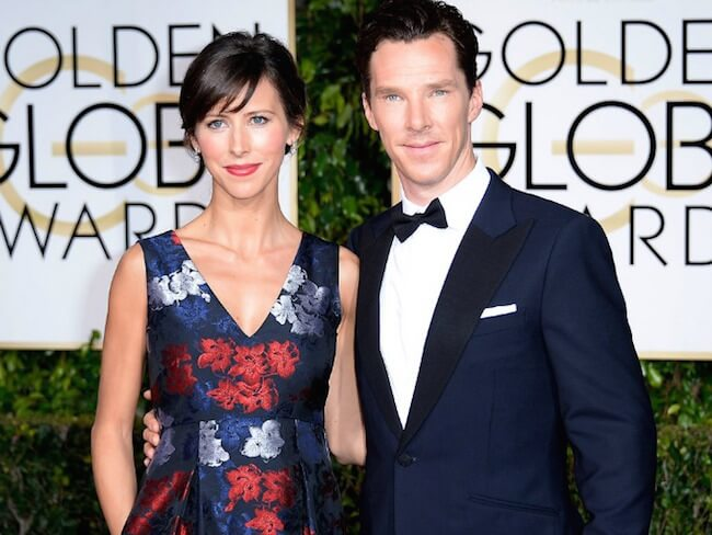 Benedict Cumberbatch attends the 2015 Golden Globe Award with wife Sophie Hunter