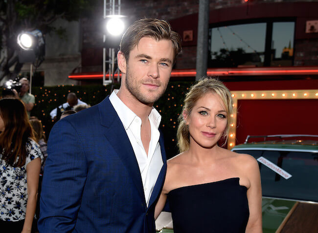 "Chris Hemsworth and Christina Applegate arrive at the premiere of Warner Bros. Pictures' ""Vacation"" at the Village Theatre on July 27, 2015 in Los Angeles, California"